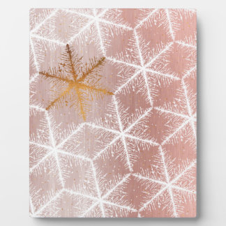 Elegant Geometric Gold Snowflakes Holiday Pattern Plaque