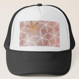 Elegant Geometric Gold Snowflakes Holiday Pattern Trucker Hat