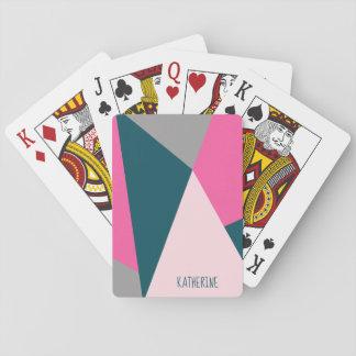 Elegant geometric hot pink emerald green pastel playing cards