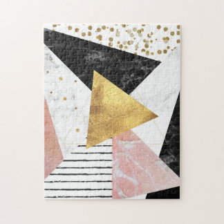 Elegant geometric marble and gold design jigsaw puzzle