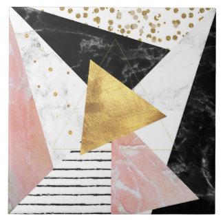 Elegant geometric marble and gold design tile