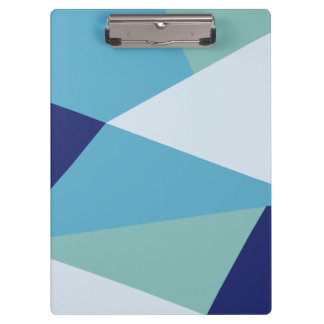 Elegant geometric navy blue and sea green pastel clipboard