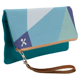 Elegant geometric navy blue and sea green pastel clutch