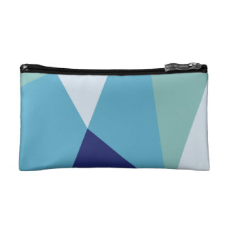 Elegant geometric navy blue and sea green pastel cosmetic bag