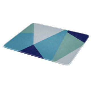 Elegant geometric navy blue and sea green pastel cutting board