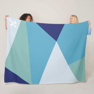 Elegant geometric navy blue and sea green pastel fleece blanket