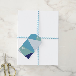 Elegant geometric navy blue and sea green pastel gift tags