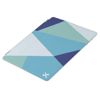 Elegant geometric navy blue and sea green pastel iPad cover