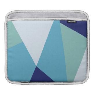 Elegant geometric navy blue and sea green pastel iPad sleeve