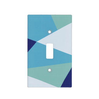 Elegant geometric navy blue and sea green pastel light switch cover