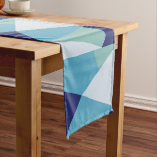 Elegant geometric navy blue and sea green pastel short table runner