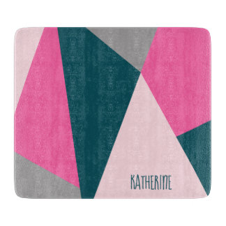 Elegant geometric pastel hot pink emerald green boards