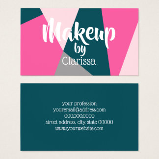 Elegant geometric pastel hot pink emerald green business card