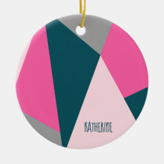 Elegant geometric pastel hot pink emerald green ceramic ornament
