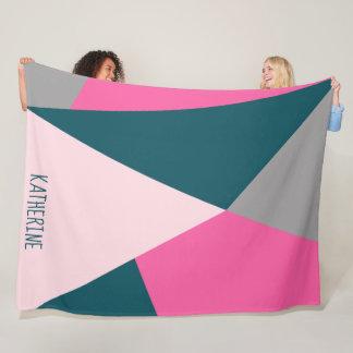 Elegant geometric pastel hot pink emerald green fleece blanket