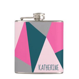 Elegant geometric pastel hot pink emerald green hip flask