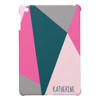 Elegant geometric pastel hot pink emerald green iPad mini case