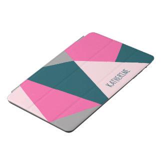 Elegant geometric pastel hot pink emerald green iPad mini cover