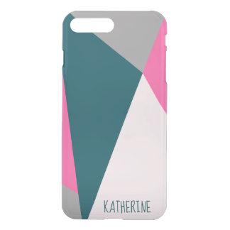 Elegant geometric pastel hot pink emerald green iPhone 8 plus/7 plus case