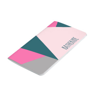 Elegant geometric pastel hot pink emerald green journal