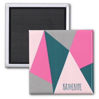 Elegant geometric pastel hot pink emerald green magnet