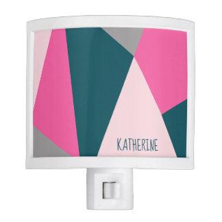 Elegant geometric pastel hot pink emerald green night lites