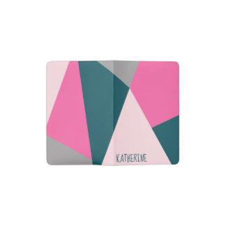 Elegant geometric pastel hot pink emerald green pocket moleskine notebook