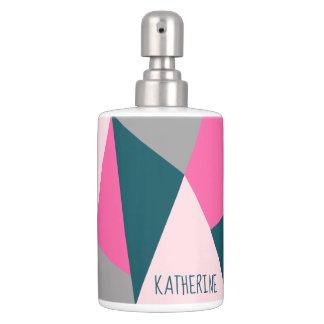 Elegant geometric pastel hot pink emerald green soap dispenser and toothbrush holder
