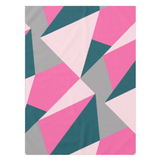 Elegant geometric pastel hot pink emerald green tablecloth