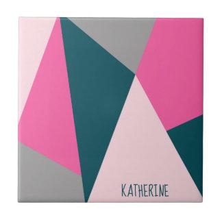 Elegant geometric pastel hot pink emerald green tile