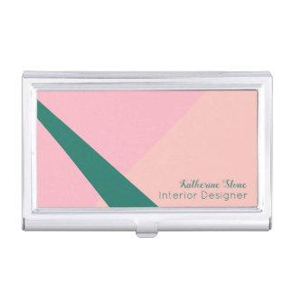 Elegant geometric pastel pink peach green business card holder
