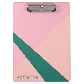 Elegant geometric pastel pink peach green clipboard
