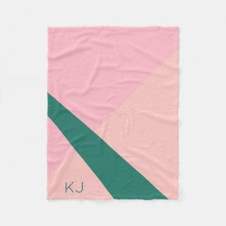 Elegant geometric pastel pink peach green fleece blanket
