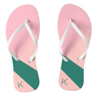Elegant geometric pastel pink peach green flip flops