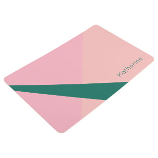 Elegant geometric pastel pink peach green floor mat