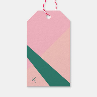 Elegant geometric pastel pink peach green gift tags