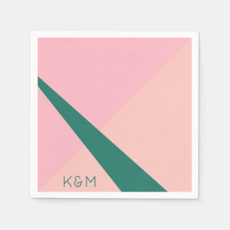 Elegant geometric pastel pink peach green napkin