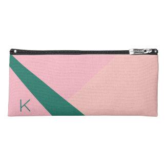 Elegant geometric pastel pink peach green pencil case