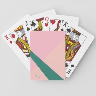 Elegant geometric pastel pink peach green playing cards