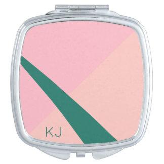 Elegant geometric pastel pink peach green vanity mirror