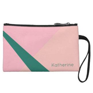 Elegant geometric pastel pink peach green wristlet