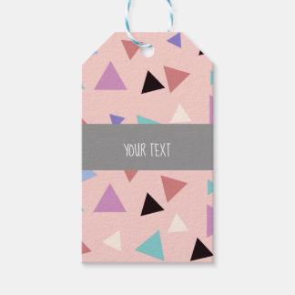 Elegant geometric pattern pink purple mint black gift tags