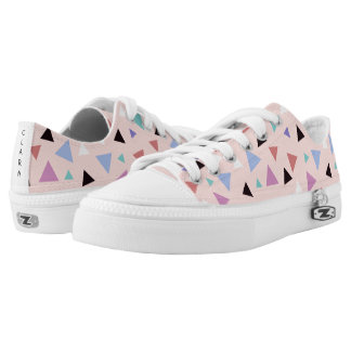 Elegant geometric pattern pink purple mint black Low-Top sneakers