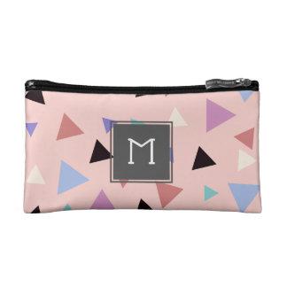 Elegant geometric pattern pink purple mint black makeup bag