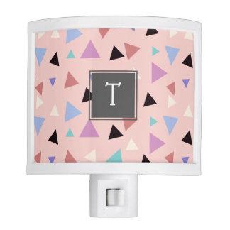 Elegant geometric pattern pink purple mint black night light