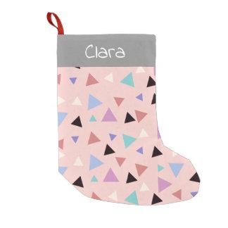 Elegant geometric pattern pink purple mint black small christmas stocking
