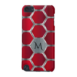 Elegant Geometric Red & Silver Pattern Monogram iPod Touch (5th Generation) Case
