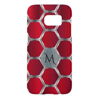 Elegant Geometric Red & Silver Pattern Samsung Galaxy S7 Case