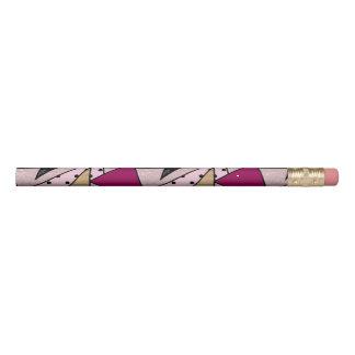 Elegant geometric rose gold glitter marble wood pencil