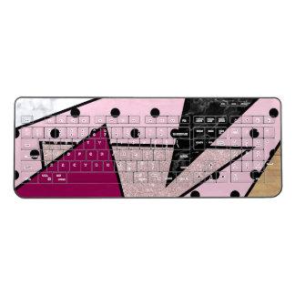 Elegant geometric rose gold glitter marble wood wireless keyboard